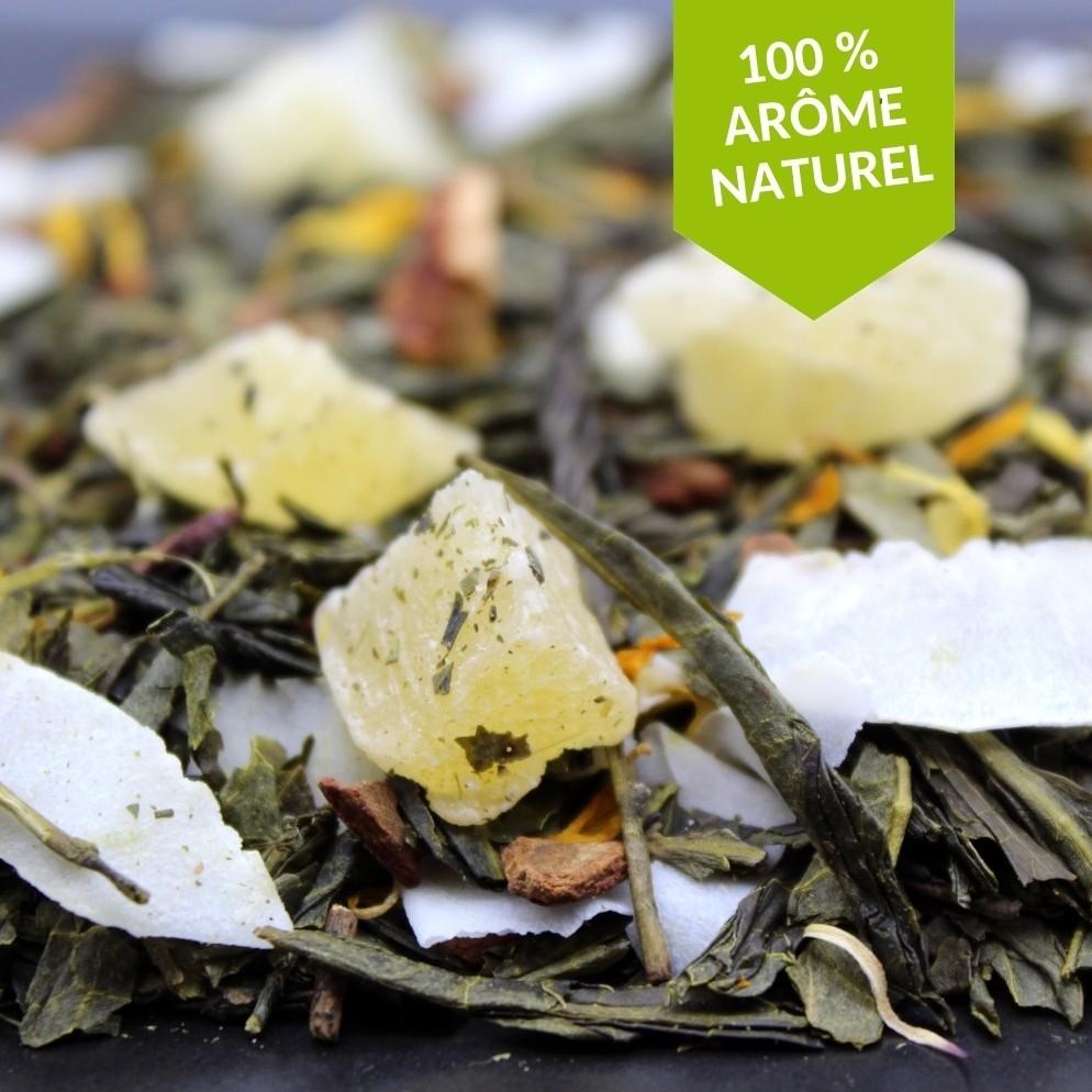 thé vert à l'ananas cannelle coco FBKT disponible en sachet de 100 grammes ou de 200 grammes