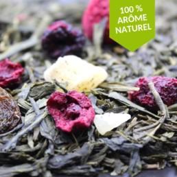 Thé vert cerise framboise vanille parfumé aux arômes naturels FBKT