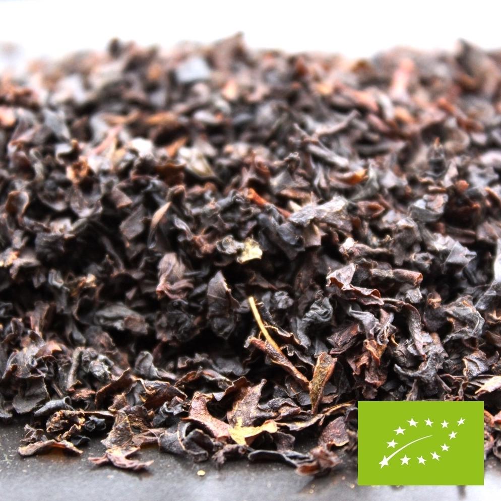 Thé noir Ceylan bio disponible en sachet en vrac de 100 grammes ou 200 grammes. Thé noir certifié biologique.