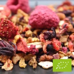 Thé noir fruité à la fraise-framboise BIO de la FBKT disponible en 100 grammes ou 200 grammes