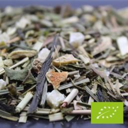 Thé vert au gingembre et au citron BIO FBKT disponible ne sachet de 100 grammes et de 200 grammes