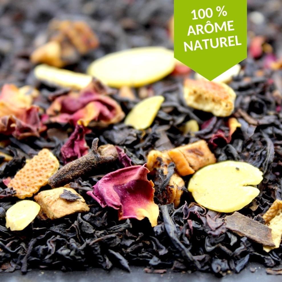 Un thé noir aromatisé à l'orange et à la cannelle, identique à la saveur d'un pain d'épices tout chaud ! Enchantez votre palais grâce aux parfums chaleureux et gourmands de ce mélange fruité et épicé.