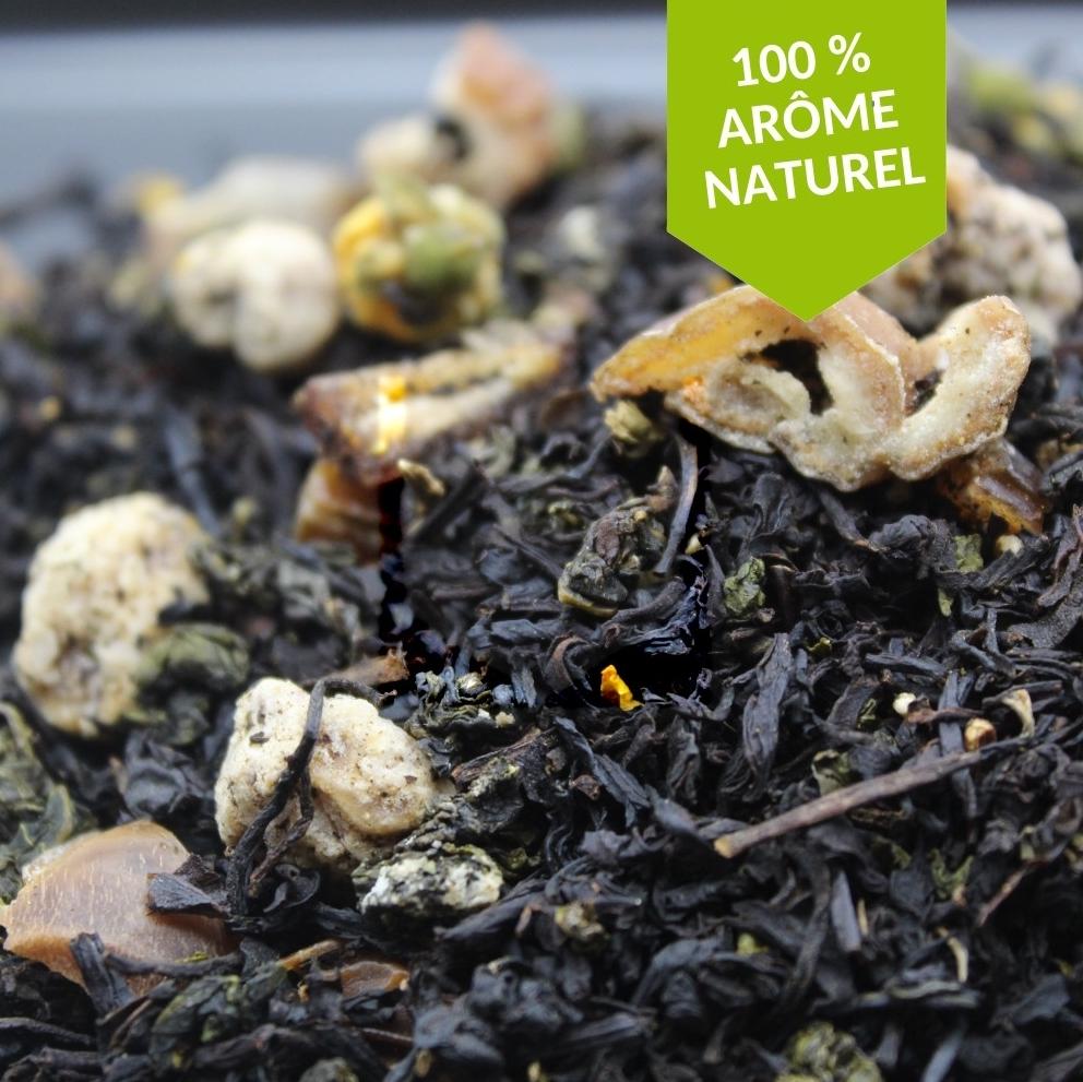 thé noir châtaigne vanille bourbon FBKT vendu en 100 grammes et 200 grammes