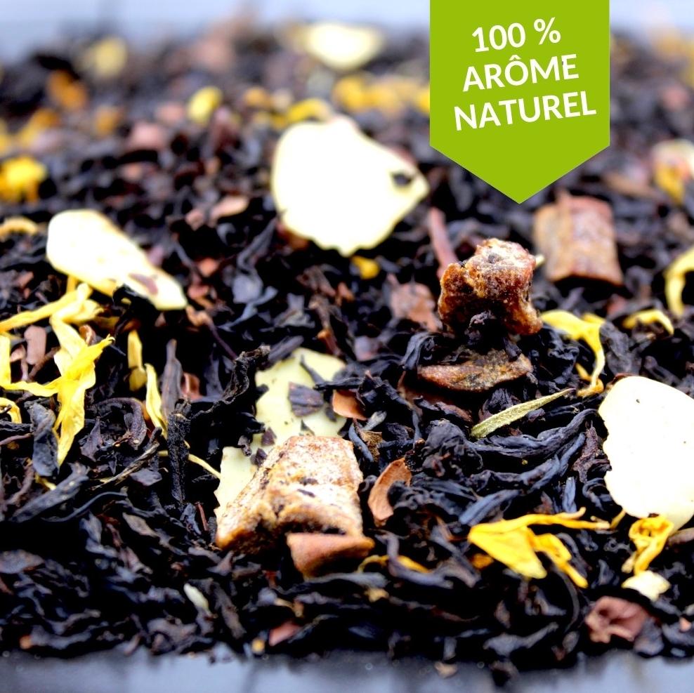 Le thé Choco Amande Poire de la FBKT est une parfaite revisite de la tartelette poire-chocolat à travers une tasse douce et savoureuse.