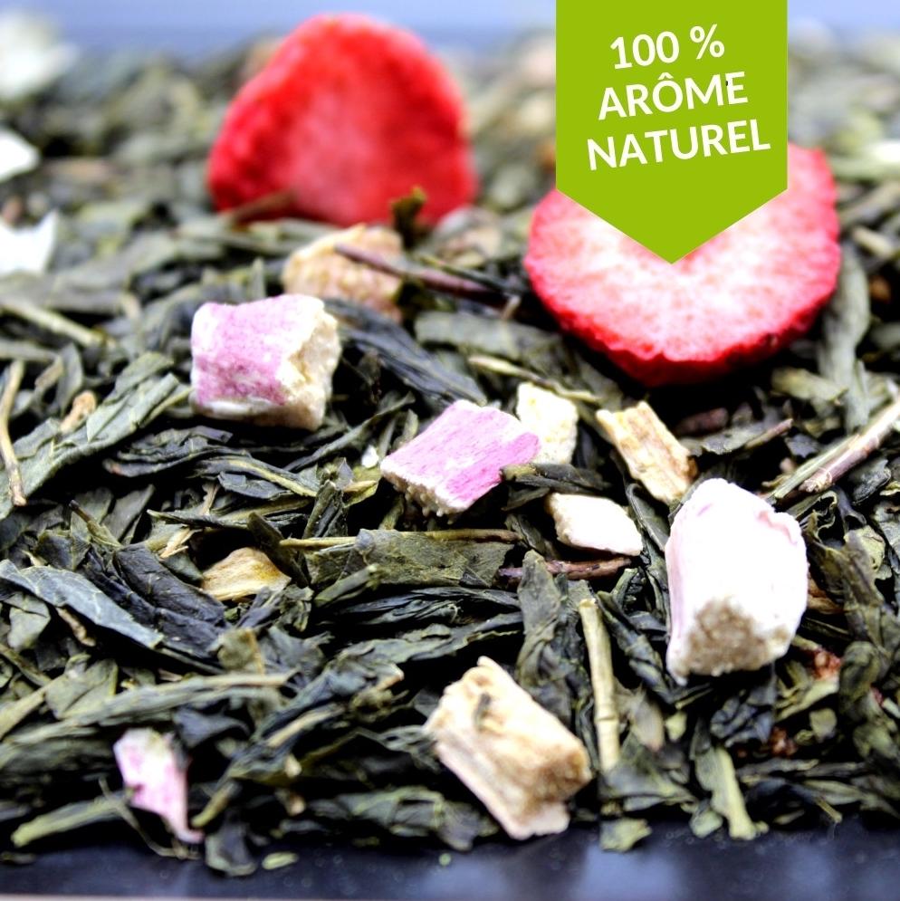 Thé vert parfumé aux arômes naturels de fraise et de rhubarbe FBKT