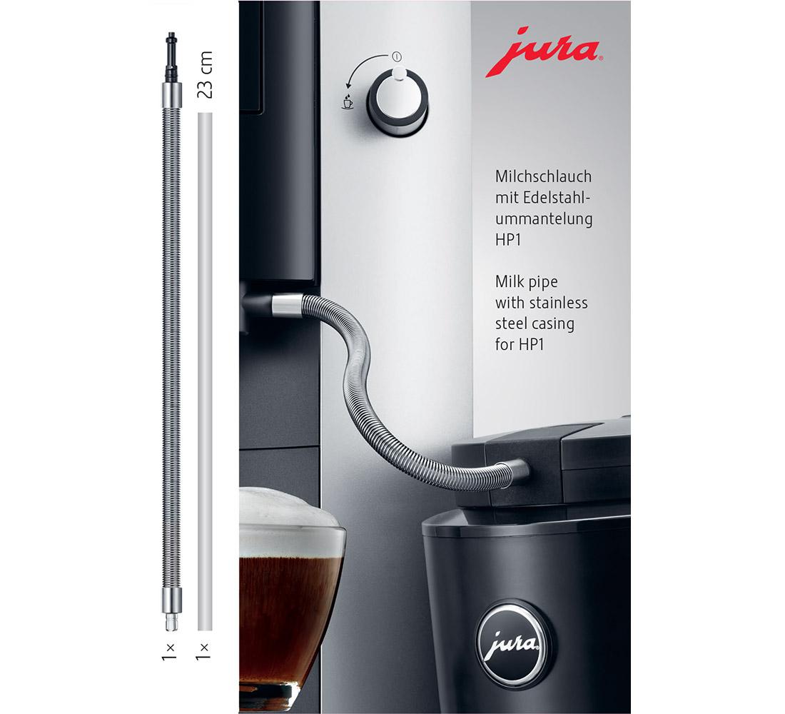 tuyau de lait en inox compatible avec les machines JURA équipé de la buse pour réaliser des boissons lactées